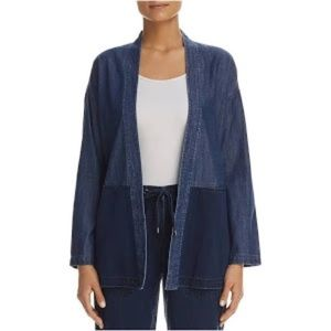 Eileen Fisher Chambray Colorblock Cardigan